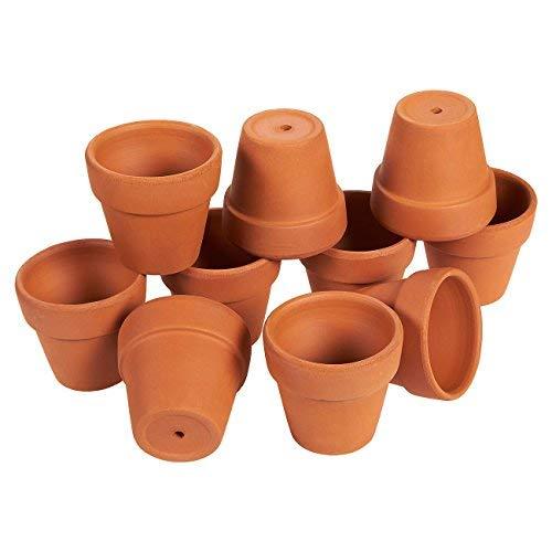 Set di 10piccoli vasi di terracotta, vasi per fiori di piccole dimensioni, piantine da interni e da esterni e per piante grasse, colore: marrone,4x 6,3cm