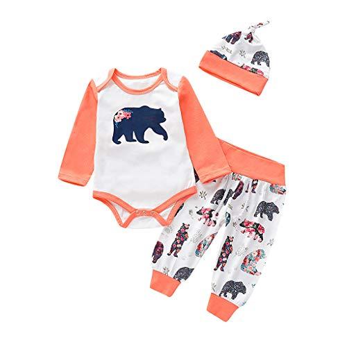 Wolle Barn Mantel (Julhold Säuglingsbaby Mädchen Kunst und Weisekarikatur-Bärn Druck Baumwollspielanzug-Body + Hose + Mütze Outfits 0-24 Monate)