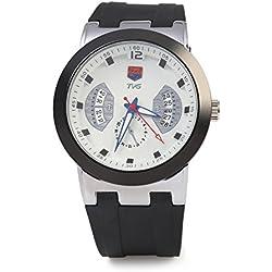 Leopard Shop TVG KM - 478 Male Quartz Watch Calendar Luminous Pointer 30m Water Resistance Wristwatch White