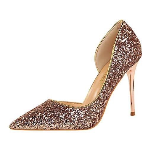 Goosuny Damen Spitze Pumps mit Pfennigabsatz Paillette Feiner High Heels Schuhe Mode Sexy Schuh Extrem Damenschuhe Seite Hohl Hoher Absätze Party Hochzeit Abendschuhe(Rose Gold,38)