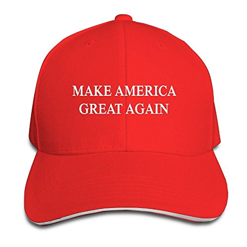 huseki Make America Great Again Comfortable Red Sandwich Peaked Cap Red