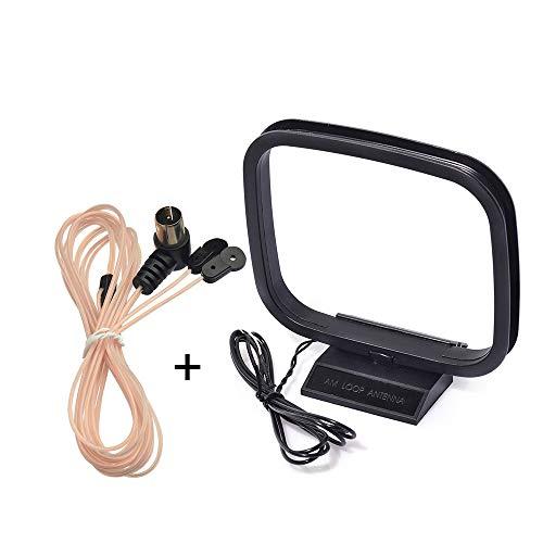 Bingfu UKW FM HiFi Dipol Antenne mit F Stecker Adapter und AM Loop Antenne mit 2 Bare Wire Adapter, 2-Pack Zimmerantenne Kompatibel mit Onkyo Denon Marantz Pioneer Stereo Receiver Car Stereo Wire Adapter