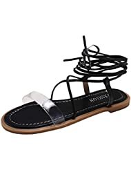 LHWY Sandalias Planas con Punta Abierta de Playa Elegante para el Verano de Las niñas Zapatos con Correa Cruzada Roma - 2019 New Comfy Sandalo Shoes Summer Beach Zapatos de Viaje