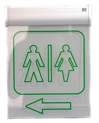 Leo–Panneau de signalisation des WC Projecteur éclairé avec écran en verre acrylique Pour stations-service et bâtiments