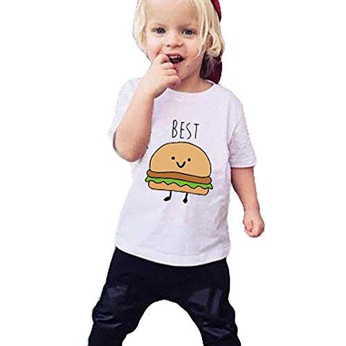 Fille Garcon T shirt Best friends enfant ete JWBBU® Frites hamburgers Shirt Imprimé Cadeau top 2 pièces (L, Best)