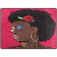 Zone Tapis Moquette, femme africaine Imprimé Vintage Design doux Polyester Grande antidérapant Tapis de bain moderne pour chambre à coucher Salon Hall Table Home Decor Rose 121,9x 160cm, Tissu, multicolore, 58 x 80 inch