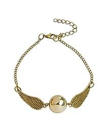 Pulsera - Pulsera - Mago Harry - Snitch dorado - Alas - Color oro - Perla dorada - Mujer - Niña - Unisex - Idea de regalo