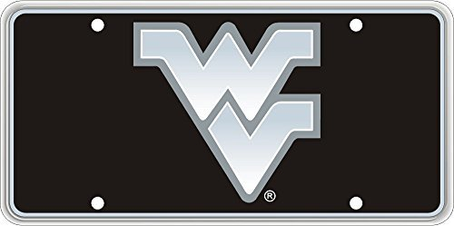 Collegiate Series WVU Silver Logo on Black License Plate by Race Plates