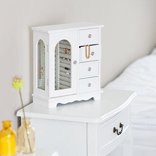 Relaxdays Schmuckkästchen mit Tür H x B x T: ca. 30 x 26 x 11 cm großer Schmuckkasten mit 4 Fächern Schmuckschrank aus Holz mit Schubladen und Spiegel Schränkchen mit Schmuckhalter für Ketten, weiß - 2
