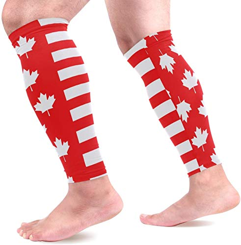 IMERIOi Canada Flag Maple Sports Calf Compression Sleeves Leg Compression Calf Sleeve for Runners Men Women (1 Pair) -