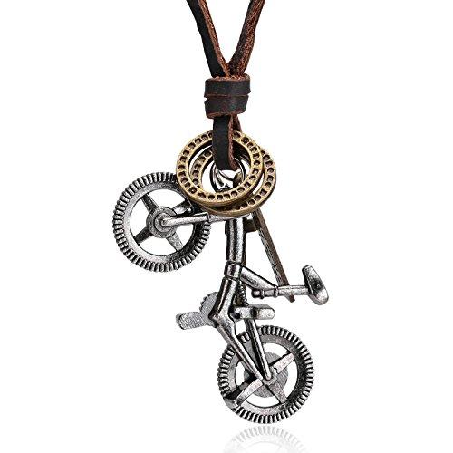 Gnzoe Herren Lederhalsband Edelstahl Einstellbar Fahrrad Leder Silber Anhänger Lederkette Herrenkette (Und Kostüme Tochter Fee Mutter)