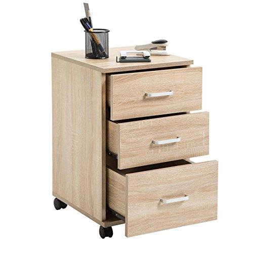 CARO-Möbel Rollcontainer JUPITER Bürocontainer Büroschrank, in Sonoma Eiche, mit 3 Schubladen, 35 x 60 x 40 cm - 2