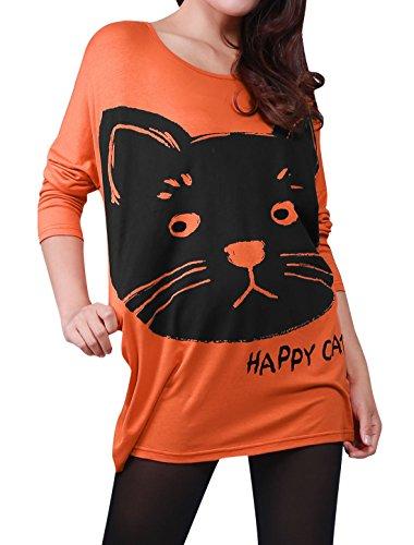 Allegra K - T-Shirt Femme Fille Coupe Ample, Manche Bouffante, Motif Chat Orange
