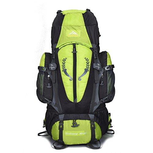 80L Im Freien Bergsteigen Rucksack Verschlüsselung Nylon Wasserdicht Klettern Tasche Green