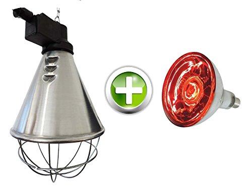 EIDER Infrarot Wärmestrahlgerät inkl. Leuchtmittel ( Birne 150W bereits enthalten ) - Wärmelampe für Tiere (Tier Welpen)