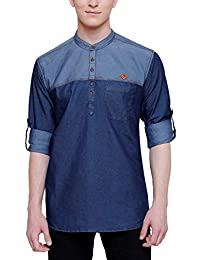 Kuons Avenue Men's Indigo Blue Denim Casual Pathani Short Kurta