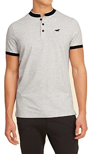 hollister-mens-polo-shirt-banded-collar-l-grey