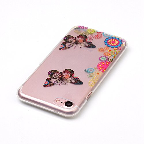 Apple iPhone 7 4.7 pollice Custodia in Pelle ,Feeltech iPhone SE/5S/5 Ultra Sottile Crystal Clear Copertura in Silicone Alta Qualità Colorful Design Pattern Jelly Protective Flessibile Soft Shell di T Fiore Multicolore