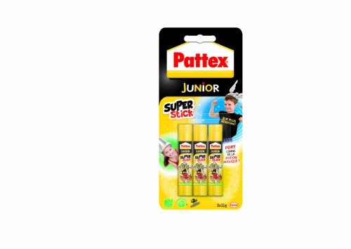 Pattex Junior Super stick Tube de colle Transparent - Super stick 11g - lot de 3