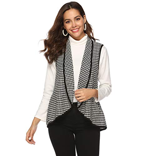 MOONQING Womens Casual Revers Vorne Plaid Weste Strickjacke Mantel Ärmellose Jacken mit Taschen, XXL -