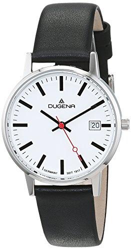 Dugena Damen Quarz-Armbanduhr, Bahnhofsuhr Design, Lederarmband, Schwarz/Weiss, 4460400