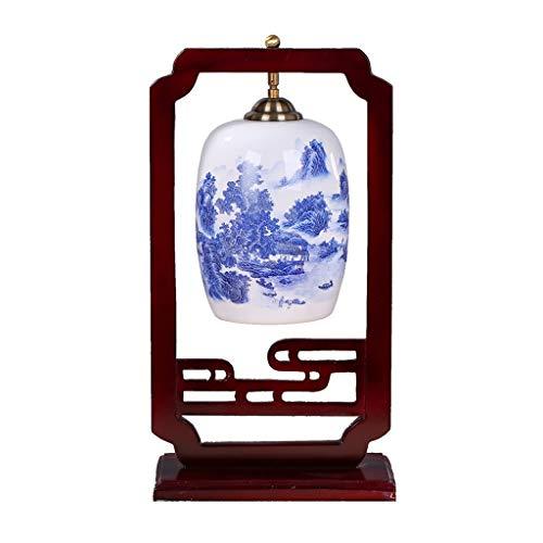 Ffshop Nachttisch-Leuchte für Schlafzimmer Vintage handgemachte asiatische orientalische Keramik Nachttischlampe Holzrahmen Keramik Lampenschirm modernes Design Schreibtischlampe -