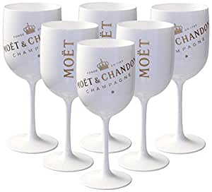 6 x mo t chandon ice imp rial acryl glas champagner gl ser set in wei gold champagne becher. Black Bedroom Furniture Sets. Home Design Ideas
