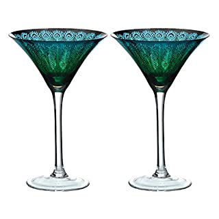 ARTLAND Set of 2 Peacock Martini, Multi-Colour