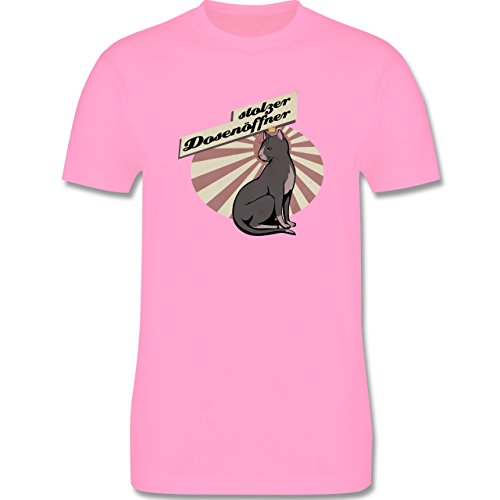 Katzen - Stolzer Dosenöffner Katze - Herren Premium T-Shirt Rosa