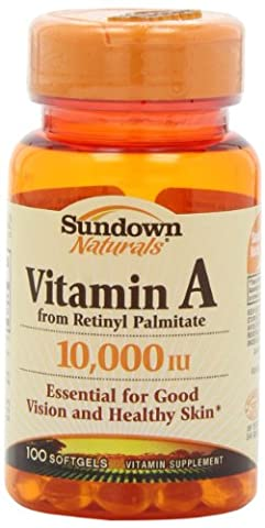 Sundown Naturals Vitamin A, 10,000 IU, 100 Softgels (Pack of 6)