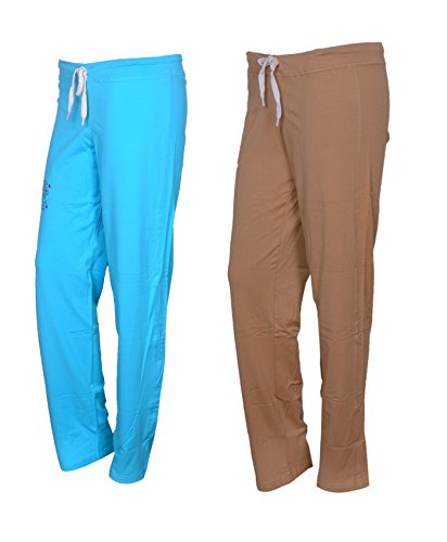Indiweaves Women's Cotton Track Pants Pack of 2-Sky Blue/Beige_73200206-IW-P2-IW-42_Size: 42