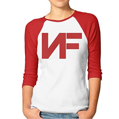 Frauen Mädchen NF Rapper Logo Tee Shirts Sommer T-Shirt 3/4 Ärmel Rundhals T Shirt Kleidung Für Frauen Jugend Mädchen Rot XXL Oval Logo Sweatshirt