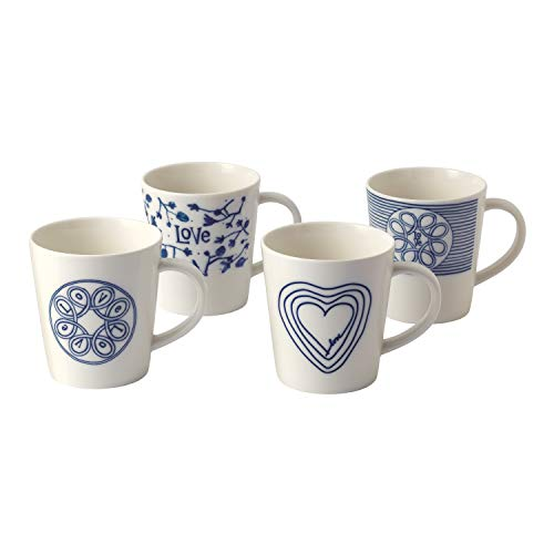 Royal Doulton Love Mug, Bleu, 475 ML, Lot de 4