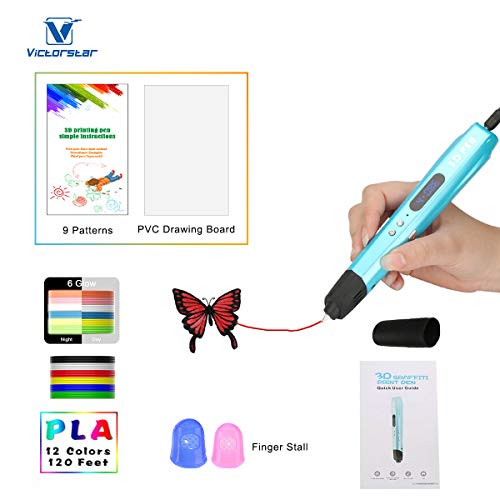 3D Stift mit LED-Anzeige größer, Motor Militär, gloss UV Beschichtung, 9 Papierschablonen, 12 PLA, 2 Ärmel der Fingern, Silikonkappe / Kompatibel mit Glühfaden PLA und ABS VICTORSTAR VT-B660 / Safer, gesünderer, Bequem (Blau)