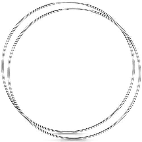 Amberta® Cerchi In Argento Sterling 925 Con Gancetto - Orecchini Creoli Sleeper A Cerchio - Diametro: 20 30 40 60 80 mm (80mm)