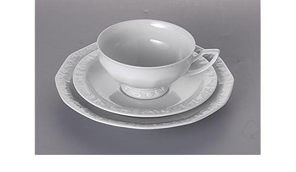 Gedeck 3 teilig Tasse Unterteller Teller Rosenthal Maria weiss
