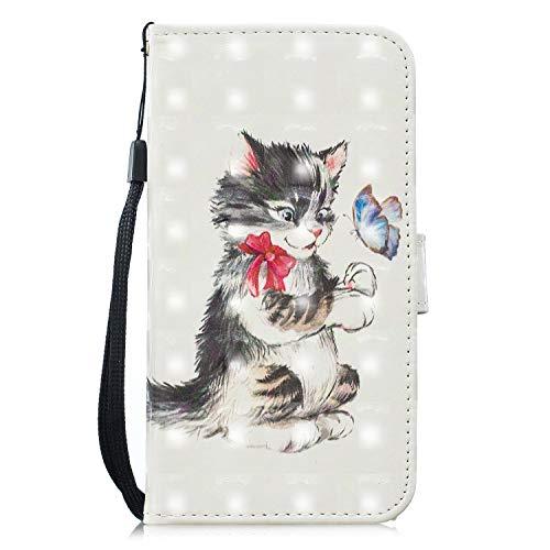 Nadoli Handytasche für iPhone SE 5S 5,3D Effekt Katze Schmetterling Glitzer Pu Leder Klapphülle Wallet Handyhülle Brieftasche für iPhone SE 5S 5,Katze Schmetterling