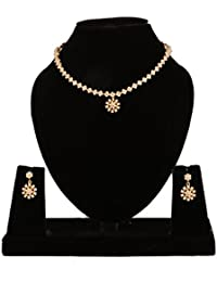 Narayana Pearls Alloy Pearl Necklace Set For Women (White)