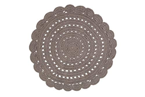 NATTIOT Tapis Maille Rond 120 cm 100% Coton Alma Gris
