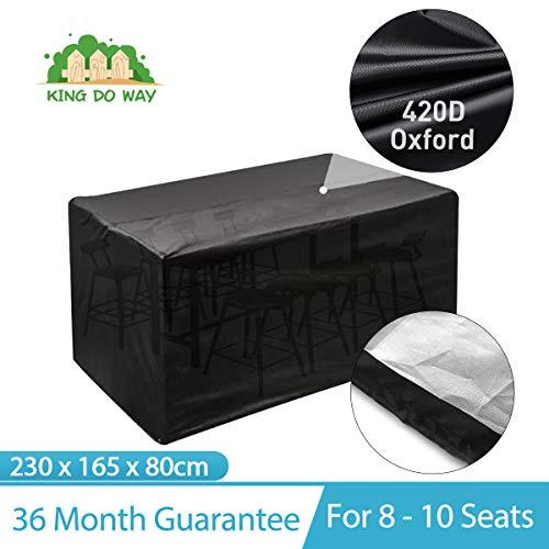 king do way copertura per mobili da giardino - telo protettivo per tavolo e sedie da esterni, poliestere impermeabile copertura, in pvc (230 x 165 x 80 cm)