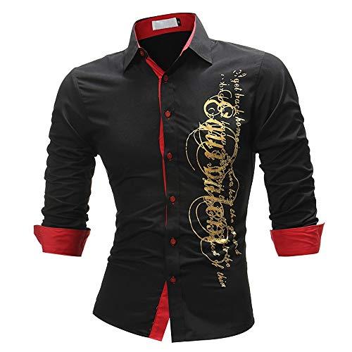 Herren Freizeit 3D Print Hemden Bluse Slim Langarmhemd Dress Shirts Tops Boy Cool Tees Shirt Lange Ärmel T-Shirt Essential Bluse für Männer Briskorry -