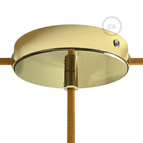 Kit Rosace en métal Laiton avec Serre-câble cylindrique, 1 Trou Central et 2 Trous latéraux, Accessoires Inclus