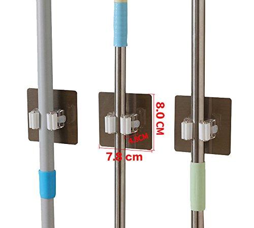Hapileap Soporte con pinza de muelle para pared, autoadhesivo 3M, ideal para fregonas, escobas o paraguas