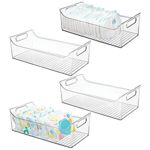MDesign Juego de 4 cestas organizadoras para cuarto de bebé - Contenedor plástico grande con prácticas...