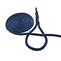 Boat Mooring Rope, 3-Strand Polyester Navy Blue, 14mm Diameter 10 Meter Length With Pre-Spliced Loop/Eye At One End. 1