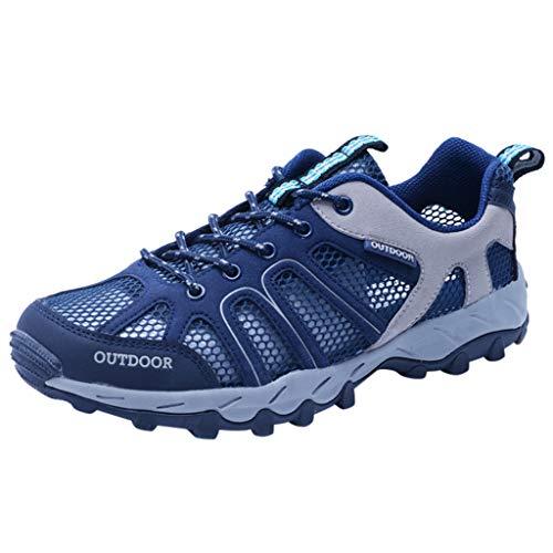 HDUFGJ Damen Trekking-& Wanderschuhe Outdoor-Schuhe Atmungsaktiv rutschfeste Reiseschuhe Watschuhe Sneaker Leichtgewicht Laufschuhe Bequem Mode Freizeitschuhe Faule Schuhe42 EU(Dunkelblau)