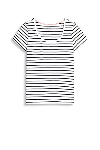 edc by Esprit 047cc1k056, T-Shirt Femme Blanc (White)