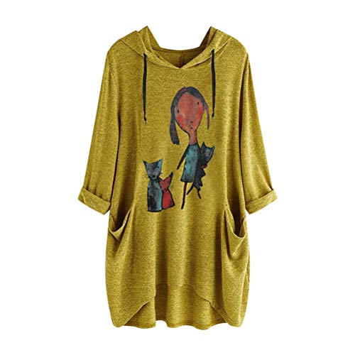 uzenpullover mit Karikaturdruck Beiläufig Lose Plus Size Pullover Top mit Taschen für Frauen ()