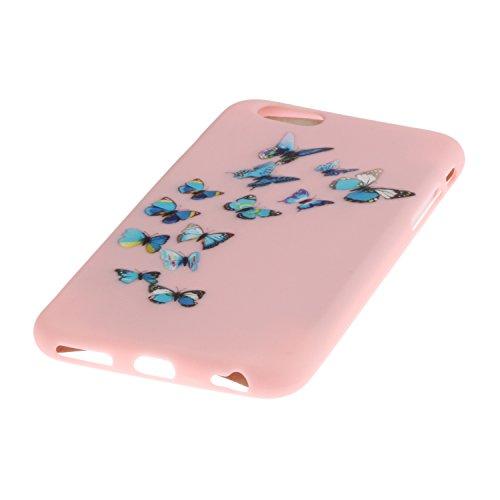 Voguecase® Pour Apple iPhone 6/6S 4,7, TPU avec Absorption de Choc, Etui Silicone Souple, Légère / Ajustement Parfait Coque Shell Housse Cover pour iPhone 6/6S 4,7 (Jaune-Love plume 01)+ Gratuit style Pink-papillon bleu 08