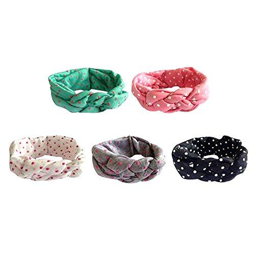 Contever® 5 Stück Baby Turban Mädchen Kinder Stirnband Punkt Friedens Knot Haarband Haarschmuck Elastisch Headband